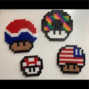 Super Mario ⭐️mushrooms⭐️ •perler beads•